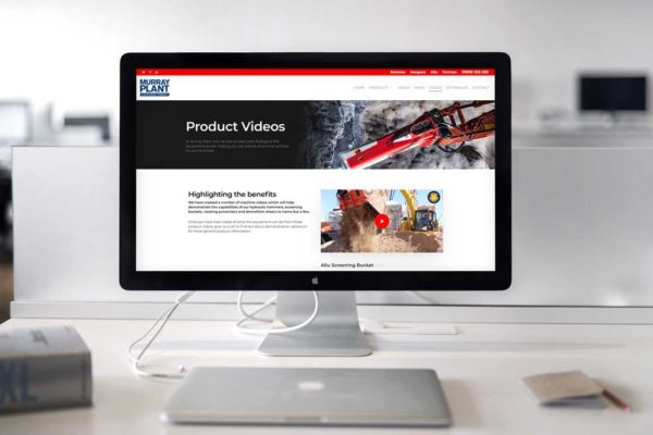 Video Page of Plant Hire Web Design as shown on laptop with external display.